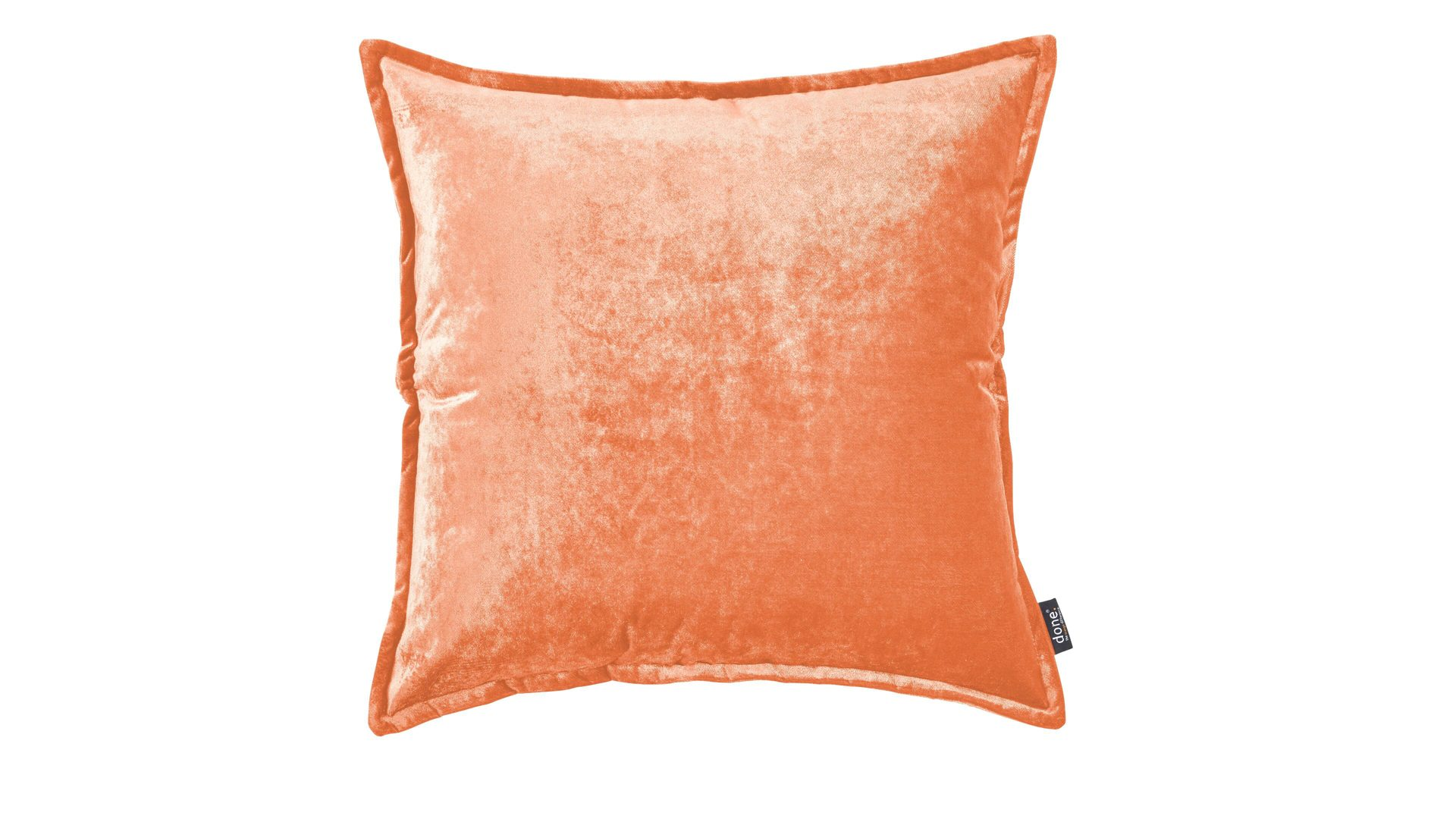 Kissenbezug Done by karabel home company aus Stoff in Orange Done Kissenhülle Cushion Glam korallenfarbener Samt – ca. 65 x 65 cm