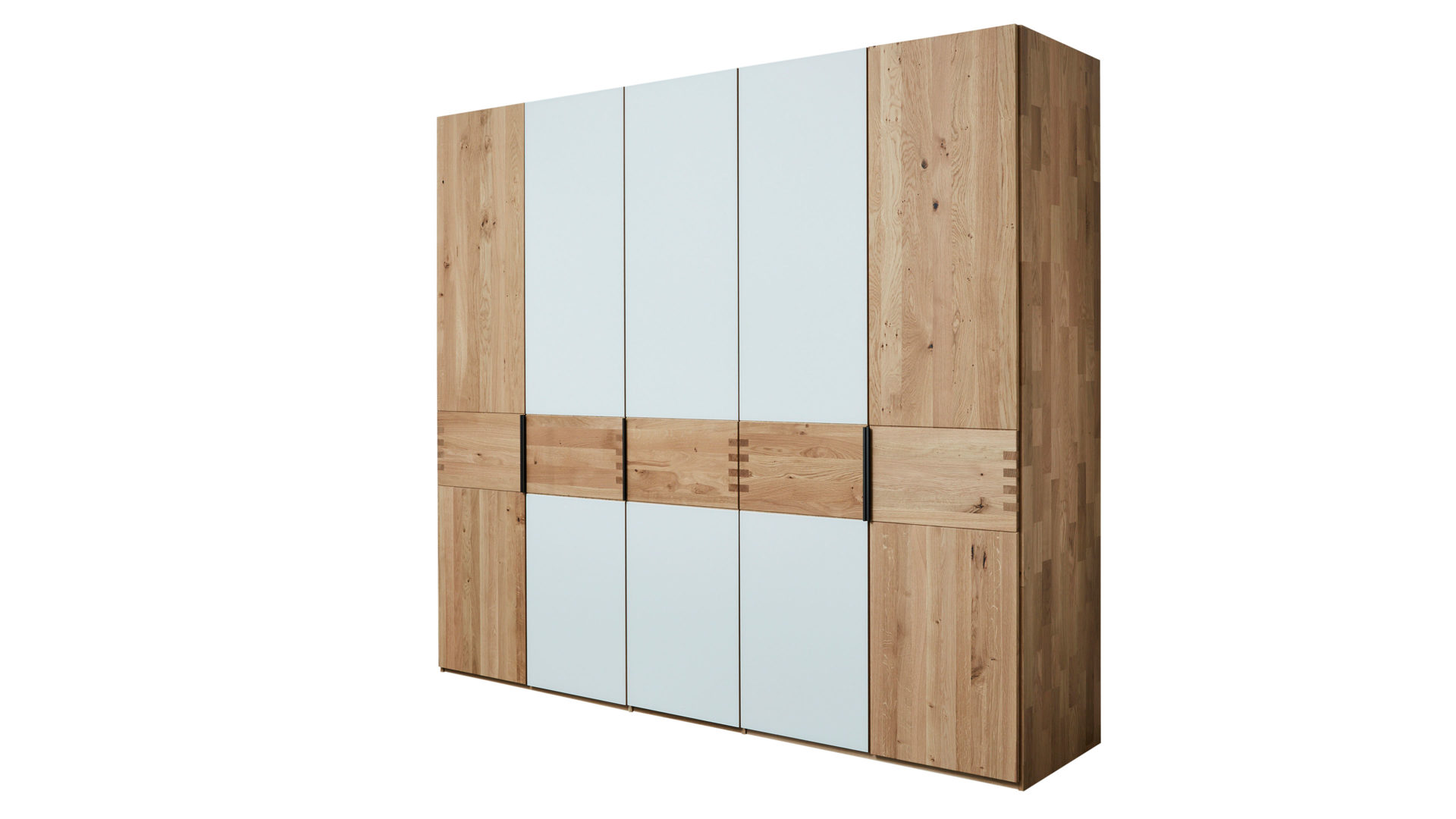 Kleiderschrank Interliving aus Holz in Weiß Interliving Schlafzimmer Serie 1015 – Kleiderschrank 7005 magnolienfarbenes Mattglas & Wildeiche – fünftürig, Höhe ca. 240 cm