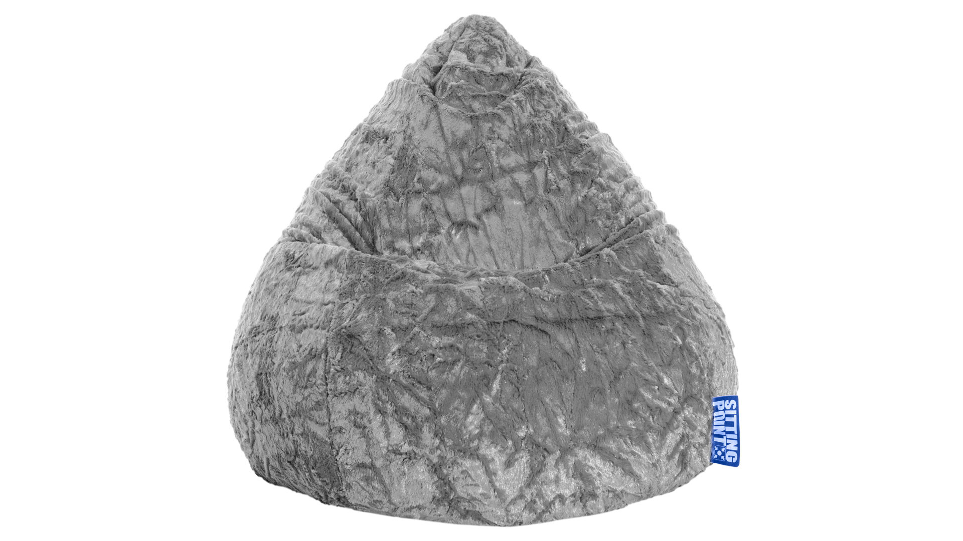 Standard-Sitzsack Magma sitting point aus Stoff in Grau SITTING POINT Plüsch-Sitzsack Fluffy XL als Sitzmöbel hellgrauer Plüschbezug - ca. 220 Liter